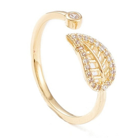 R180 - Ring in gift-box, 18K gold plated, neutral cz, size adjustable