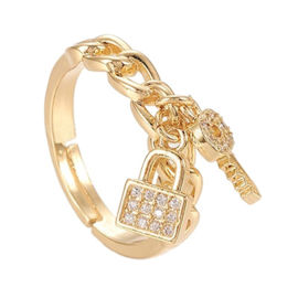 R170 - Ring in gift-box, 18K gold plated, neutral cz, size adjustable