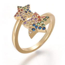 R231 - Ring in gift-box, 18K gold plated, multicolor cz, size adjustable