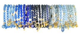 0706 - 10 bracelets refill french blue, dark blue or light blue