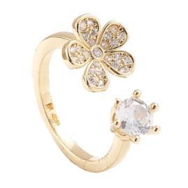 R105 - Ring in gift-box, 18K gold plated, neutral cz, size adjustable
