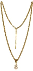 NL2 - chain with Swarovski pearl in gift pouch - 55 cm