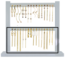 DIS16M - Refill : 1 row of 8 pairs of earhooks CZ neutral long