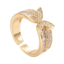 R165 - Ring in gift-box, 18K gold plated, neutral cz, size adjustable