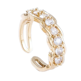 R169 - Ring in gift-box, 18K gold plated, neutral cz, size adjustable