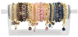 PEDISGD - 24 gold finish bracelets on display brown, vintage rose & dark blue