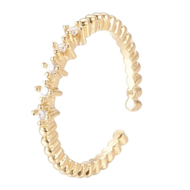 R101 - Ring in gift-box, 18K gold plated, neutral cz, size adjustable