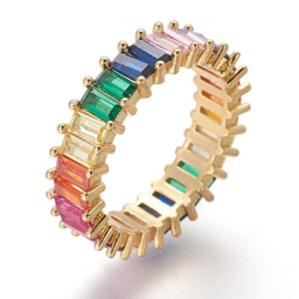 R234 - Ring in gift-box, 18K gold plated, multicolor cz, size 57 (17)
