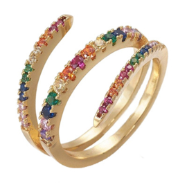 R225 - Ring in gift-box, 18K gold plated, multicolor cz, size adjustable