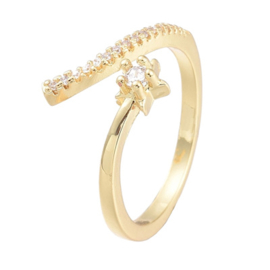 R172 - Ring in gift-box, 18K gold plated, neutral cz, size adjustable