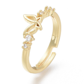 R179 - Ring in gift-box, 18K gold plated, neutral cz, size adjustable