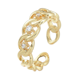 R168 - Ring in gift-box, 18K gold plated, neutral cz, size adjustable