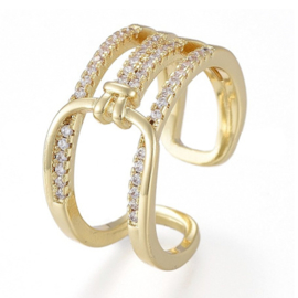R176 - Ring in gift-box, 18K gold plated, neutral cz, size adjustable