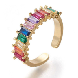R232 - Ring in gift-box, 18K gold plated, multicolor cz, size adjustable