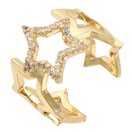 R115 - Ring in gift-box, 18K gold plated, neutral cz, size adjustable