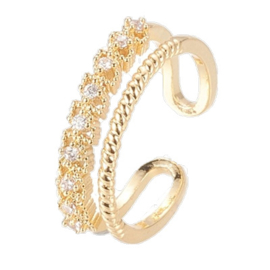 R102 - Ring in gift-box, 18K gold plated, neutral cz, size adjustable