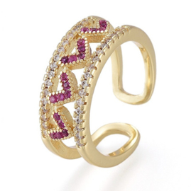 R235 - Ring in gift-box, 18K gold plated, multicolor cz, size adjustable