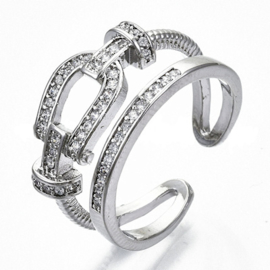 R012 - Ring in gift-box, platinum plated, neutral cz, size adjustable