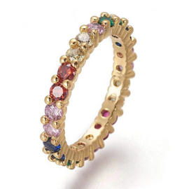 R233 - Ring in gift-box, 18K gold plated, multicolor cz, size 59 (19)
