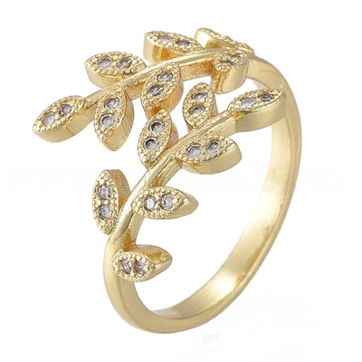 R114 - Ring in gift-box, 18K gold plated, neutral cz, size adjustable
