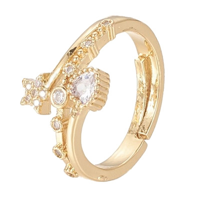R110 - Ring in gift-box, 18K gold plated, neutral cz, size adjustable