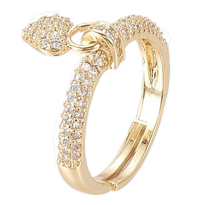 R123 - Ring in gift-box, 18K gold plated, neutral cz, size adjustable