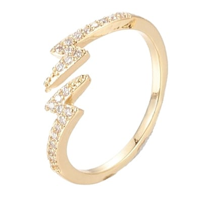 R109 - Ring in gift-box, 18K gold plated, neutral cz, size adjustable