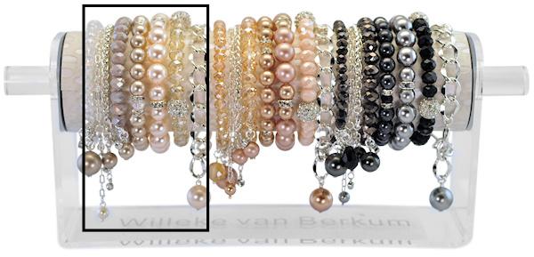 PESETSI - 8 silver finish bracelets refill ivory, beige or graphite