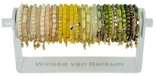 0701 - 30 bracelets on display cream, yellow & olive
