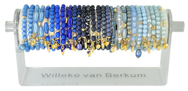0706 - 30 bracelets on display french blue, dark blue & light blue