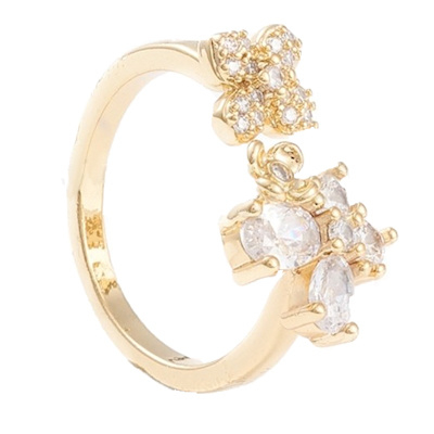 R113 - Ring in gift-box, 18K gold plated, neutral cz, size adjustable