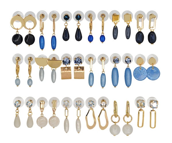 DIS18D -Refill :  1 row of 6 pairs of  earhooks