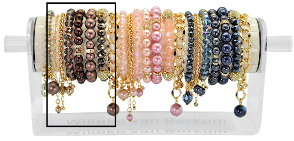 PESETGD - 8 silver finish bracelets refill dark brown, vintage rose or dark blue