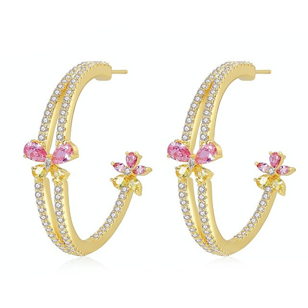 FEH12 - pair of festive earhooks in gift box with CZ cristal