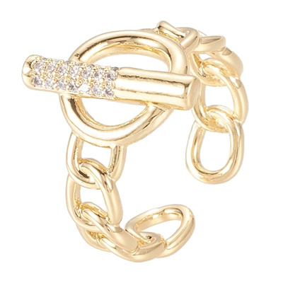 R111 - Ring in gift-box, 18K gold plated, neutral cz, size adjustable