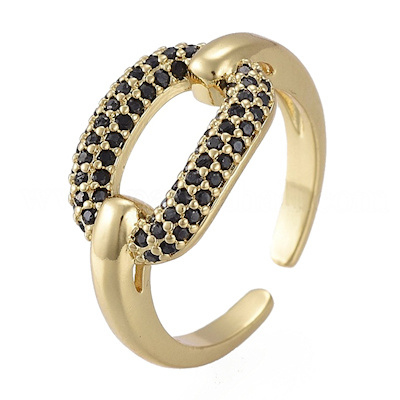R120 - Ring in gift-box, 18K gold plated, dark cz, size adjustable