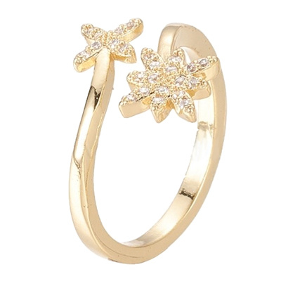 R112 - Ring in gift-box, 18K gold plated, neutral cz, size adjustable