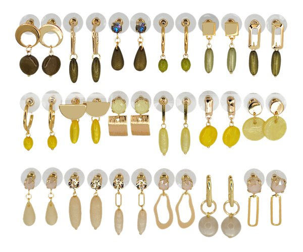 DIS18E -Refill :  1 row of 6 pairs of  earhooks