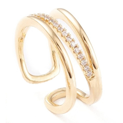 R103 - Ring in gift-box, 18K gold plated, neutral cz, size adjustable