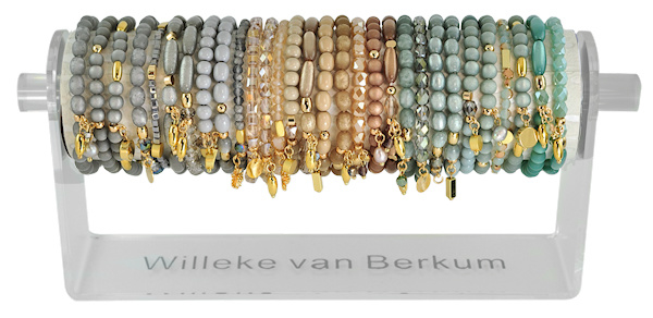 0707 - 30 bracelets on display platinum, greige & sage