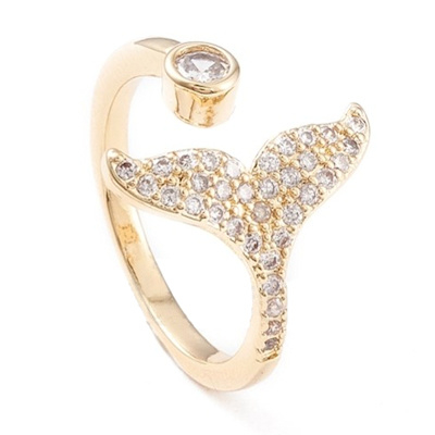 R104 - Ring in gift-box, 18K gold plated, neutral cz, size adjustable