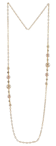 NL5 - chain with Swarovski pearls in gift pouch - 80 cm