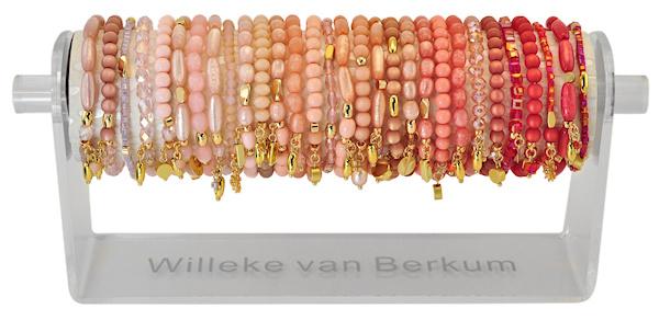 0705 - 30 bracelets on display powder rose, peach & coral