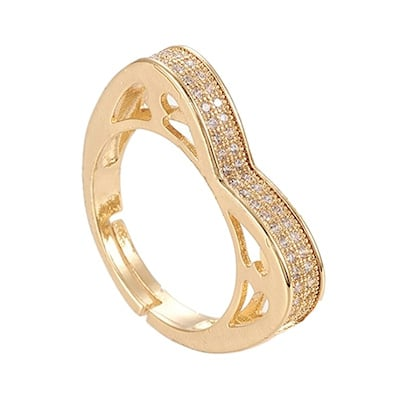 R163 - Ring in gift-box, 18K gold plated, neutral cz, size adjustable