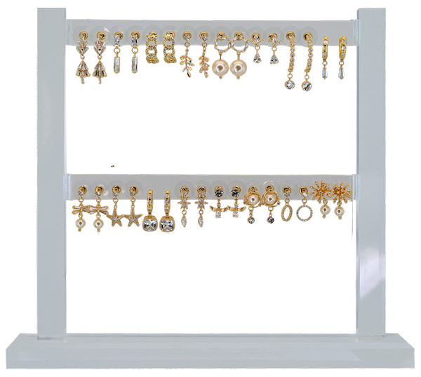 DIS16L - Earhooks display 16 pairs CZ neutral small