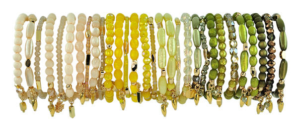 0701 - 10 bracelets refill cream, yellow or olive