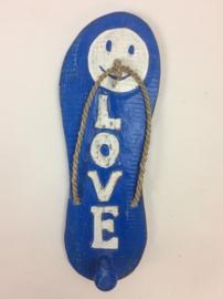 Slipper kapstok Love blauw