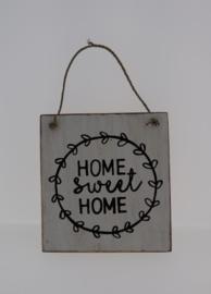 Tekstbord 13x15 cm Home sweet Home