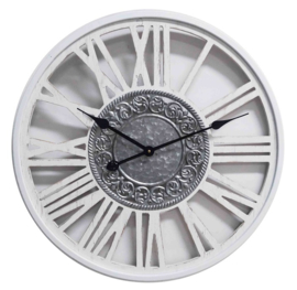 White Wooden Wall Clock Metal Insigne Dia60*4.5cm