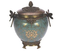 Pot rond Libelle,Turq/Gold 19x17x22,5cm